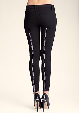 bebe Embroidered Skinny Pant