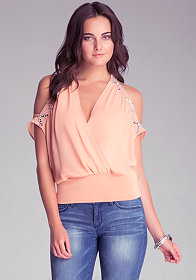 bebe Embroidered Surplice Top