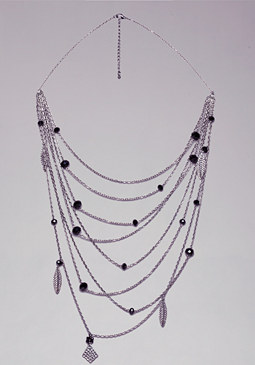 bebe Chain & Leaf Necklace