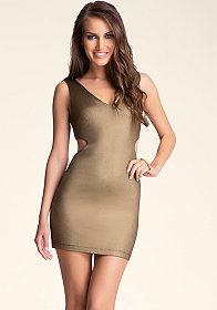 bebe Metallic Scoop Back Dress