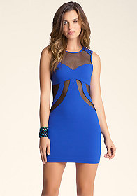 bebe Netted Open Back Dress