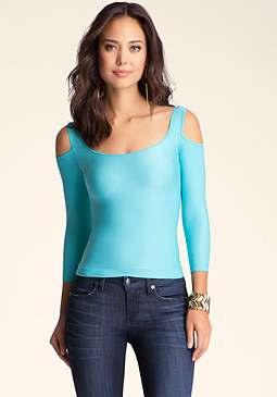 Cold Shoulder Shine Top at bebe
