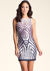 bebe Geometric Sequin Dress