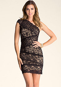bebe Lace One Shoulder Dress