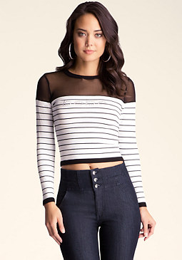 bebe Stripe Colorblock Sweater