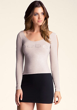 bebe Logo Slash Sleeve Top
