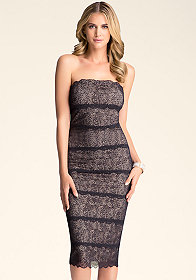 bebe Strapless Lace Midi Dress
