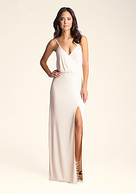 bebe Long Surplice Studded Gown