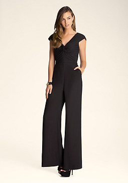 bebe Petite Pleated Front Jumpsuit