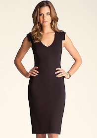 bebe Deep V Neck Midi Dress