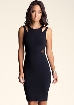 bebe Strappy Side Cutout Midi Dress