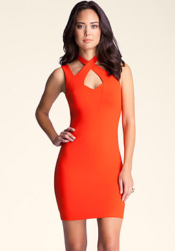 bebe Cutout Halter Strap Midi Dress
