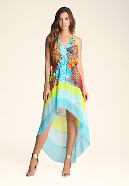 bebe Hi Low Printed Halter Dress
