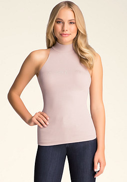 bebe Ribbed Sleeveless Mockneck