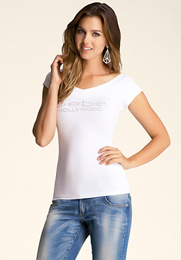 bebe Hollywood V Neck Logo Tee