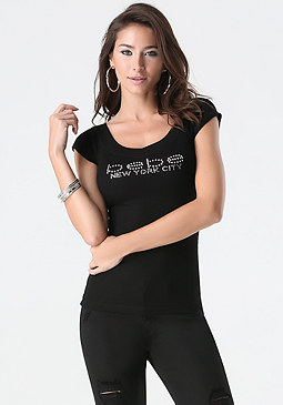 bebe Logo New York V Neck Tee