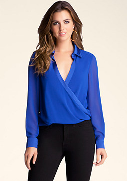 bebe High Low Contrast Top