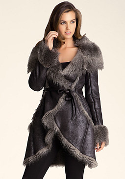 bebe Faux Fur Long Jacket