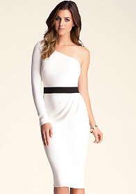 ONE SHOULDER PONTE DRESS at bebe