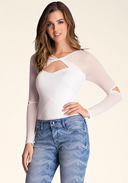 bebe Solid Long Sleeve Bodysuit