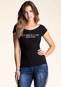 bebe Chicago V Neck Logo Tee