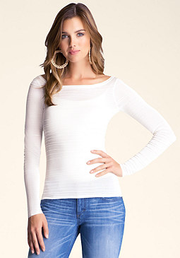 bebe Long Sleeve Stripe Top