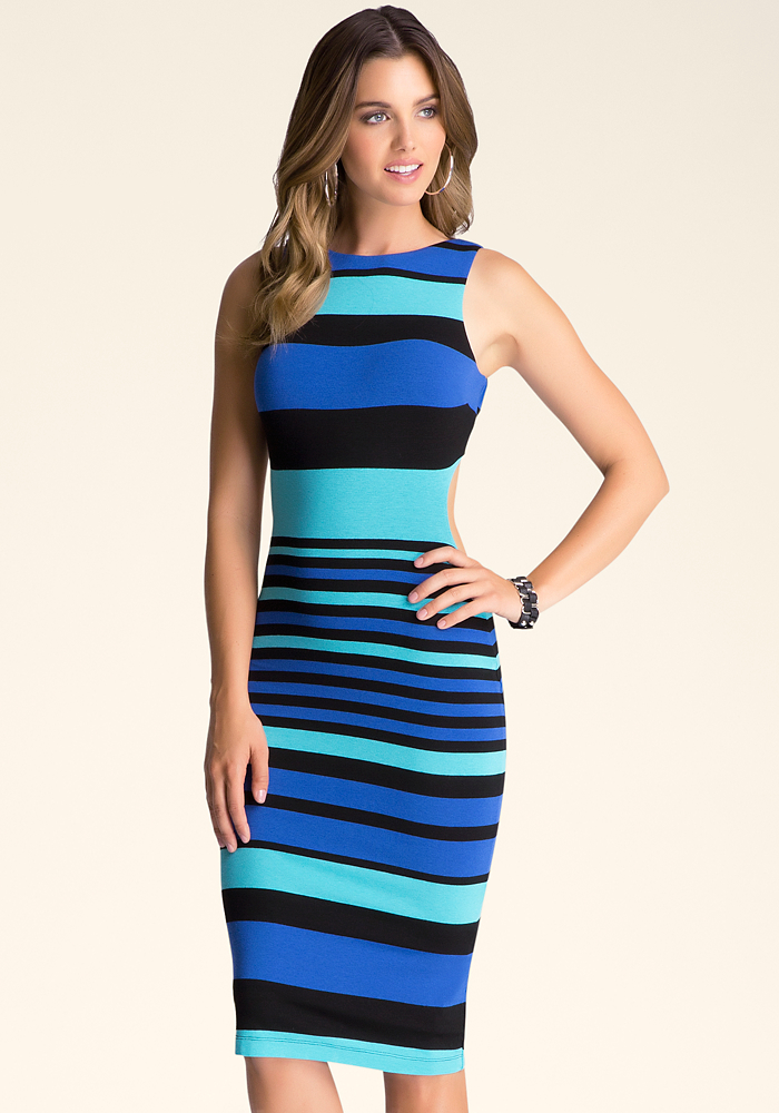 Open Back Stripe Midi Dress