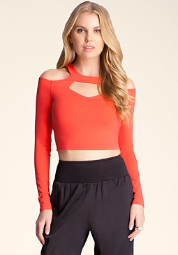 bebe Cut Out Cold Shoulder Top