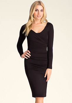 bebe Cowl Neck Knee Length Dress