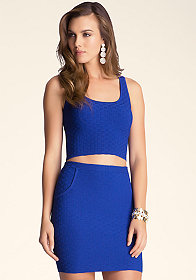 bebe Basketweave Stitch Crop Top