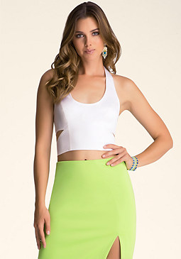 bebe Side Splice Crop Top