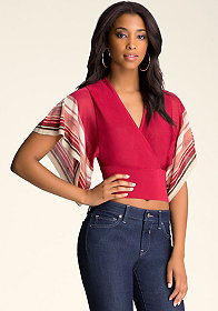 KIMONO SLEEVE STRIPE TOP at bebe