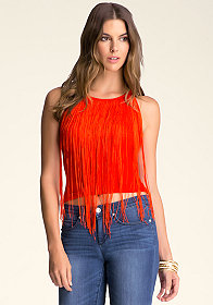 Fringe Neck Halter Top at bebe