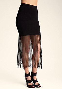 bebe Fringe Mini Skirt���