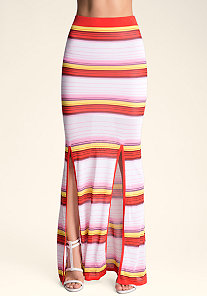 OMBRE STRIPED MAXI SKIRT at bebe