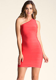 bebe One-Shoulder Bandage Dress