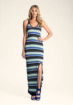 OMBRE STRIPE MAXI DRESS at bebe