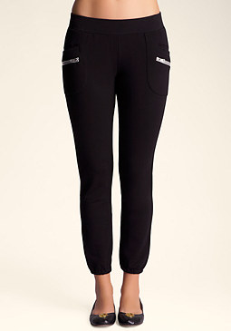Metallic Fleece Zip Capri at bebe