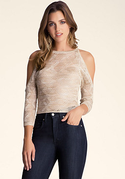bebe Batwing Cold Shoulder Crop