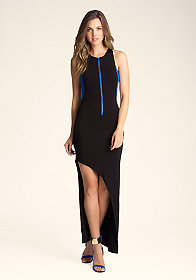 bebe Petite Asymmetric Maxi Dress