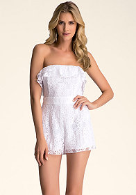 bebe Off Shoulder Lace Romper