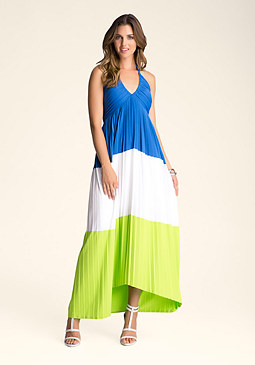 bebe Colorblock Halter Dress