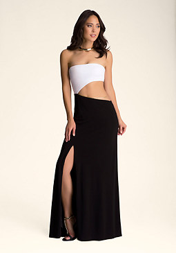 bebe Strapless Cutout Maxi Dress