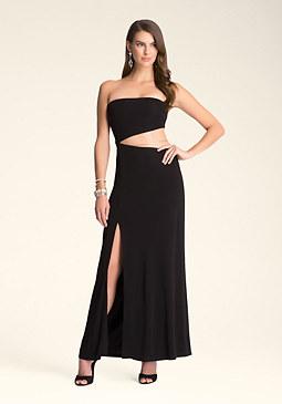 bebe Strapless Cutout Maxi Dress