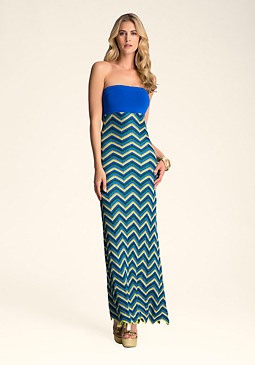 bebe Tropic Zig Zag Maxi Dress