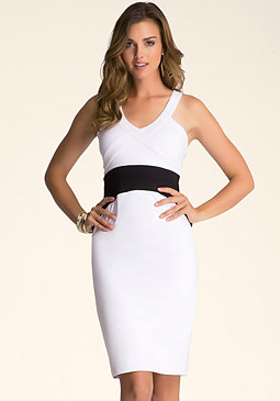bebe Banded Sleeveless Dress