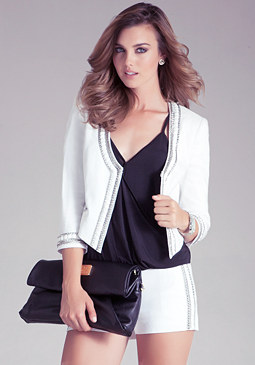 bebe Embellished Collar Jacket