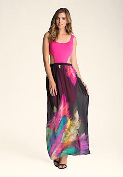PRINT KEYHOLE MAXI DRESS at bebe