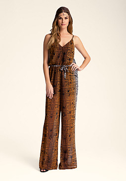 bebe Printed Wide Leg Jumpsuit