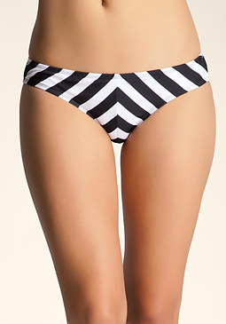 bebe Striped Bikini Swim Bottom
